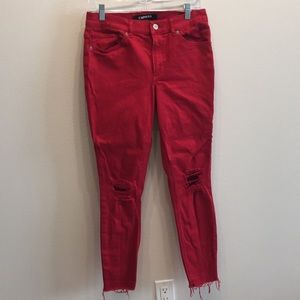 Red high rise ripped jeans